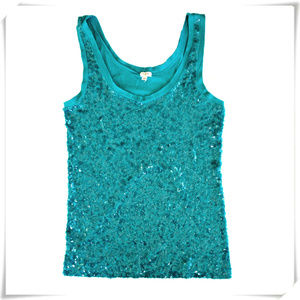 ♡J. Crew♡ Tank Top With Sequins Paillettes In Teal